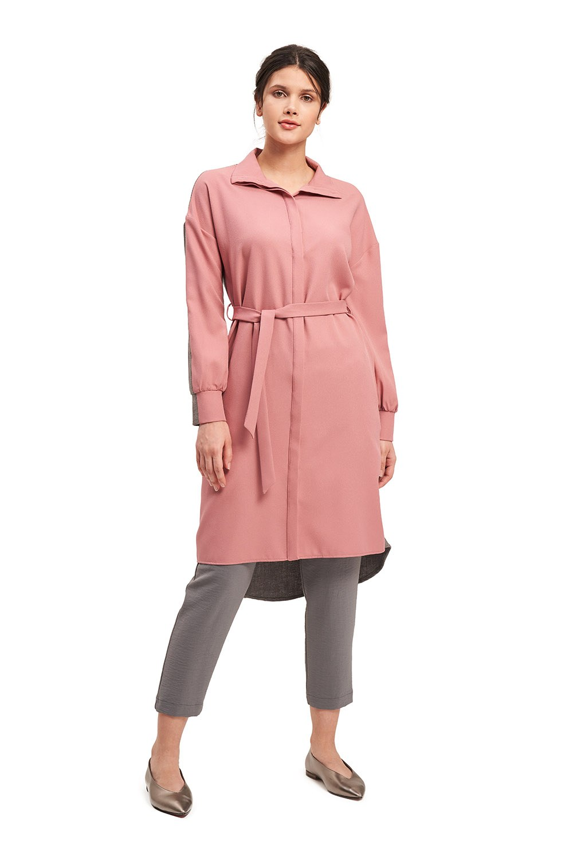 Çift Renkli Gri-Pembe Tunik Elbise