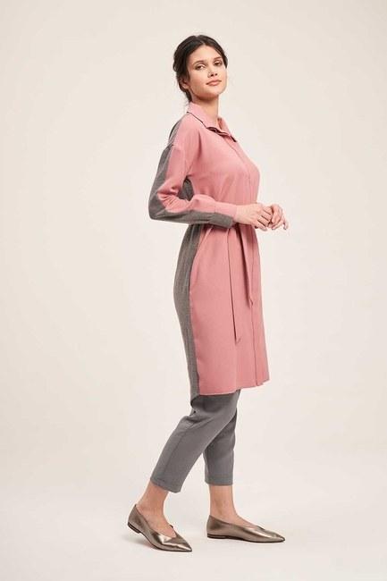 Mizalle - Çift Renkli Gri-Pembe Tunik Elbise