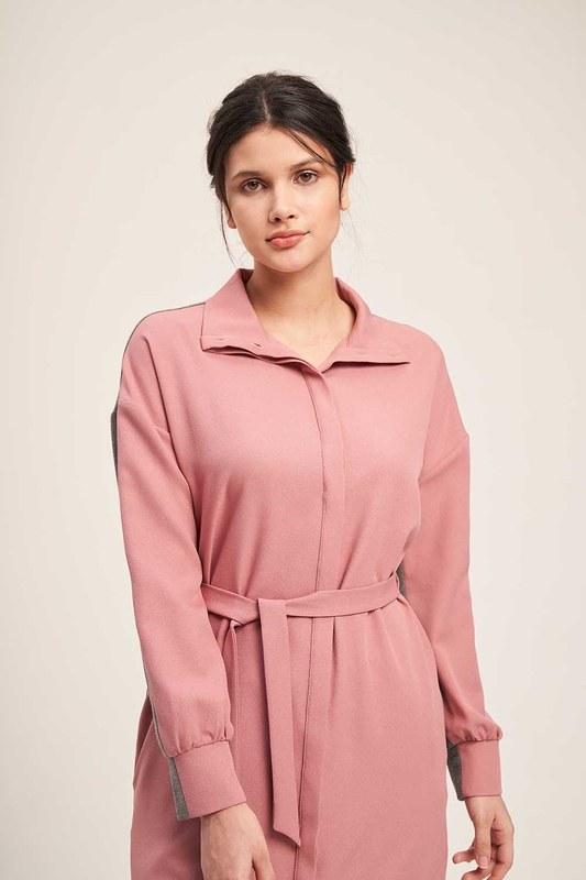 Çift Renkli Tunik Elbise (Gri/Pembe)