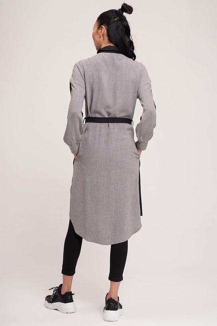 Çift Renkli Tunik Elbise (Gri/Siyah) - Thumbnail