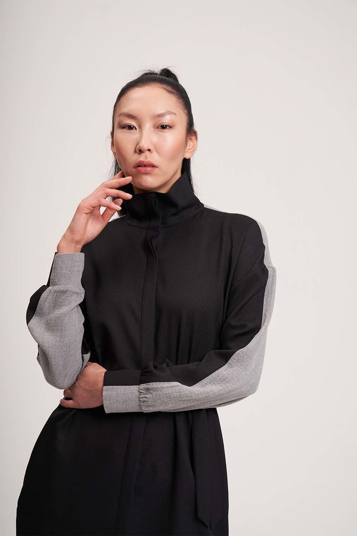 Çift Renkli Tunik Elbise (Gri/Siyah)