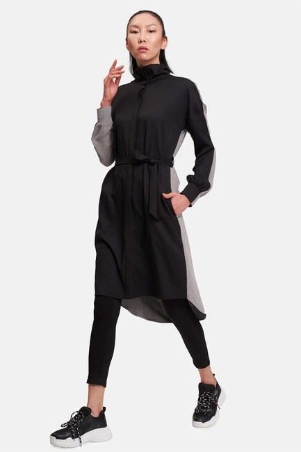 Mizalle - Çift Renkli Tunik Elbise (Gri/Siyah)