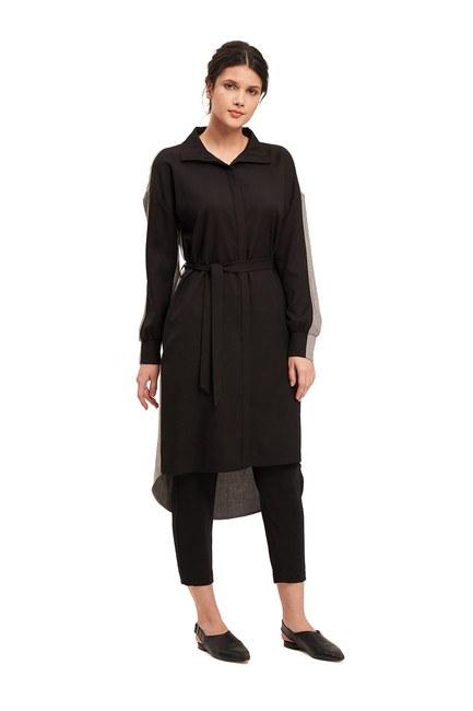 Mizalle - Çift Renkli Tunik Elbise (Gri/Siyah) (1)