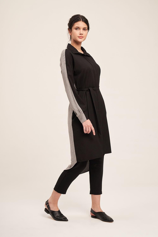 Çift Renkli Gri-Siyah Tunik Elbise