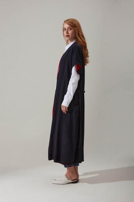 Keten Lacivert Kimono - Thumbnail