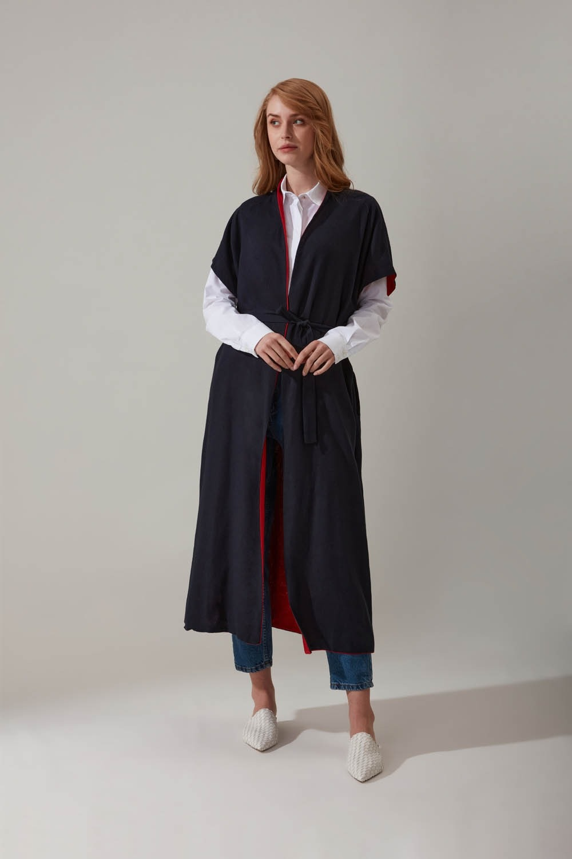 Keten Lacivert Kimono