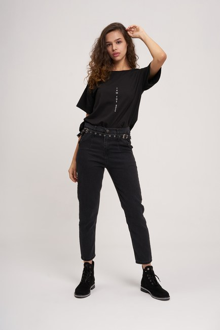 Mizalle - Çift Tokalı Mom Denim Pantolon (Siyah)