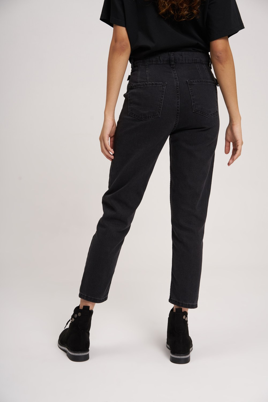 Çift Tokalı Mom Denim Pantolon (Siyah)