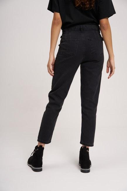 Çift Tokalı Mom Denim Pantolon (Siyah) - Thumbnail