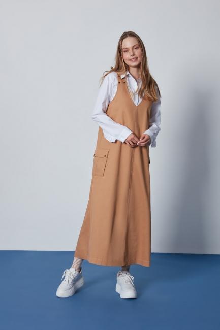 Mizalle - Çıt Çıt Düğmeli Taba Jile Elbise