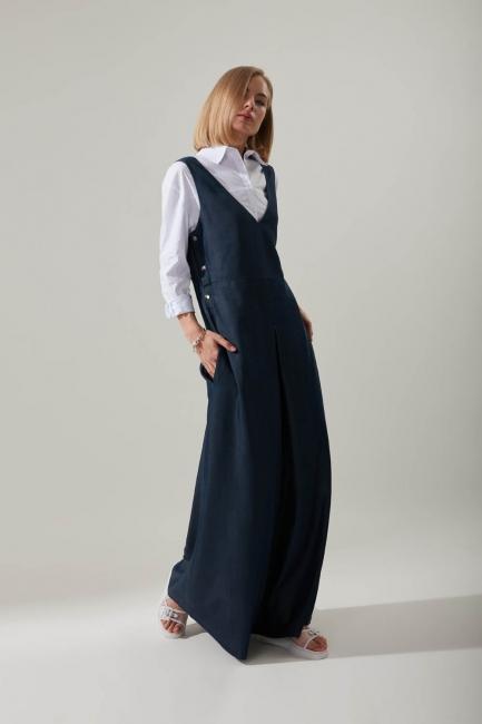 Çıtçıtlı İndigo Jile Elbise - Thumbnail