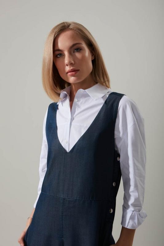 Çıtçıtlı İndigo Jile Elbise
