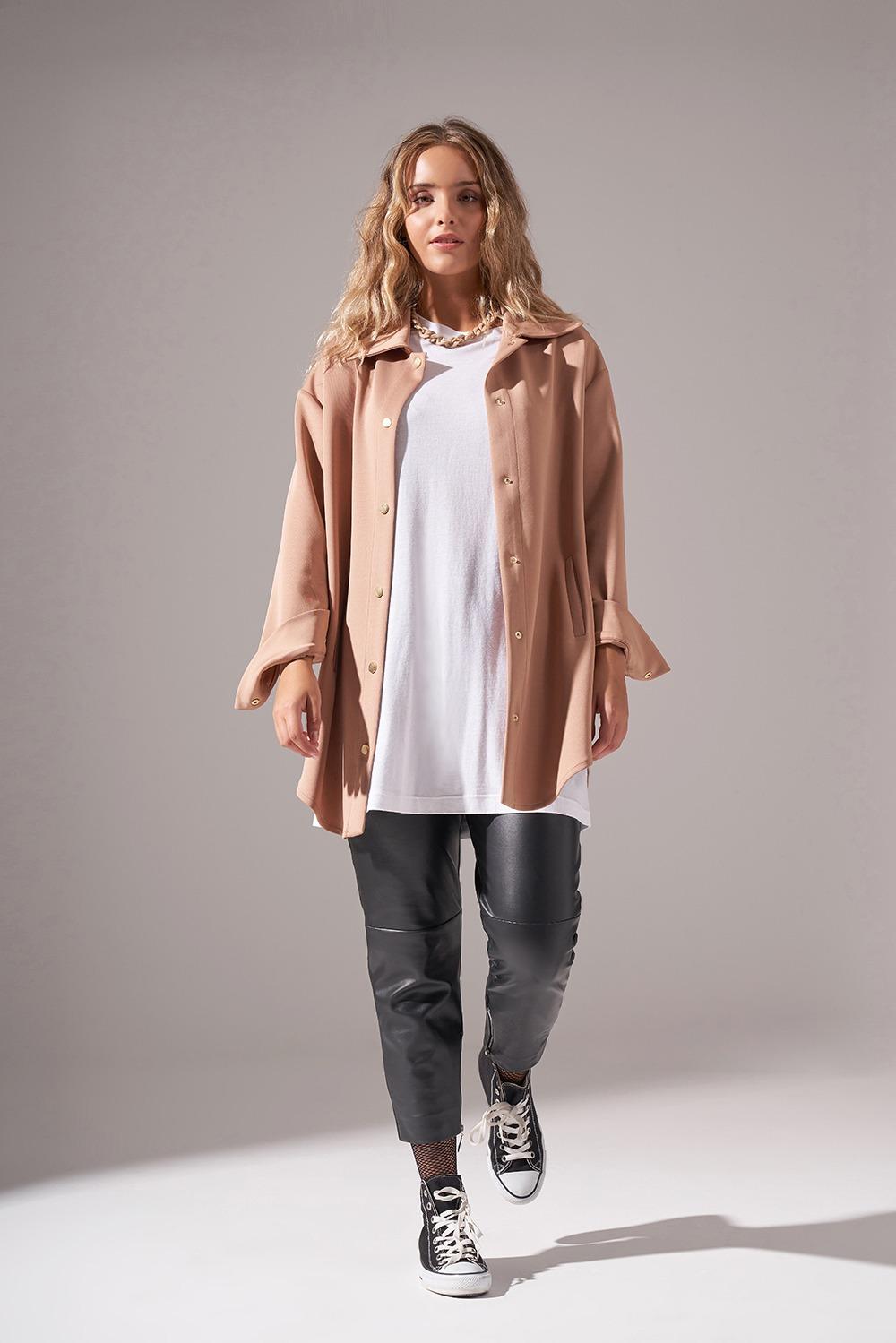 Çıtçıtlı Scuba Ceket (Bej)