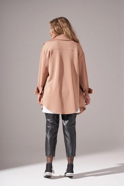 Çıtçıtlı Scuba Ceket (Bej) - Thumbnail