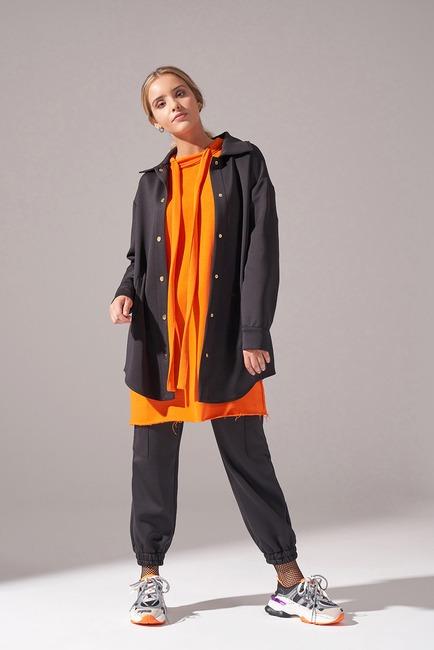 Mizalle - Çıtçıtlı Scuba Ceket (Siyah)