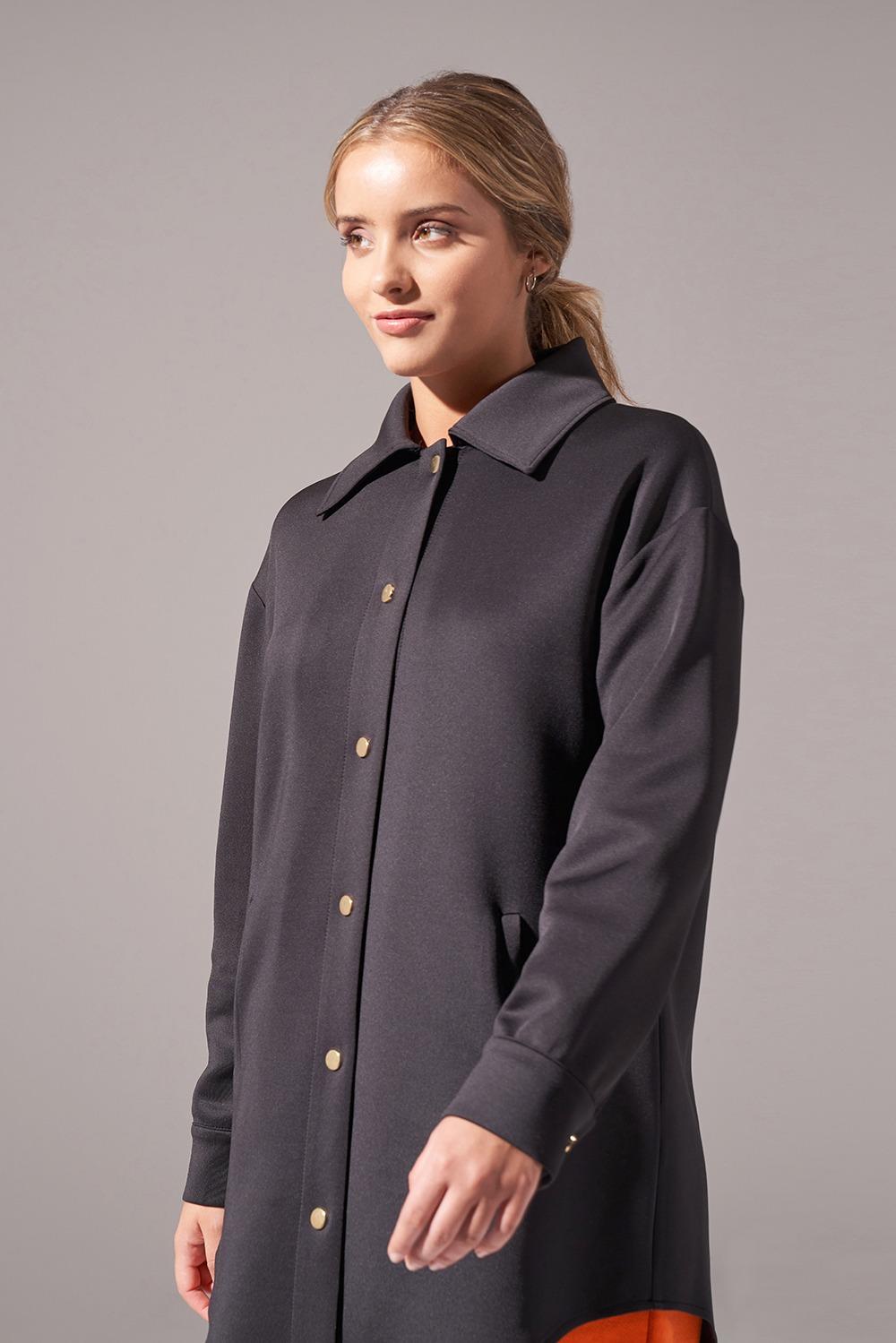 Çıtçıtlı Scuba Ceket (Siyah)
