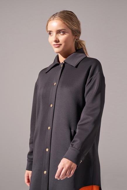 Çıtçıtlı Scuba Ceket (Siyah) - Thumbnail