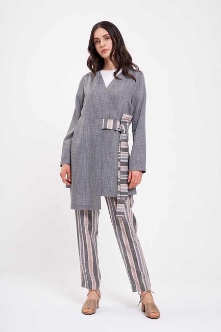 Mizalle - Çizgi Bağlamalı Kimono (Gri)