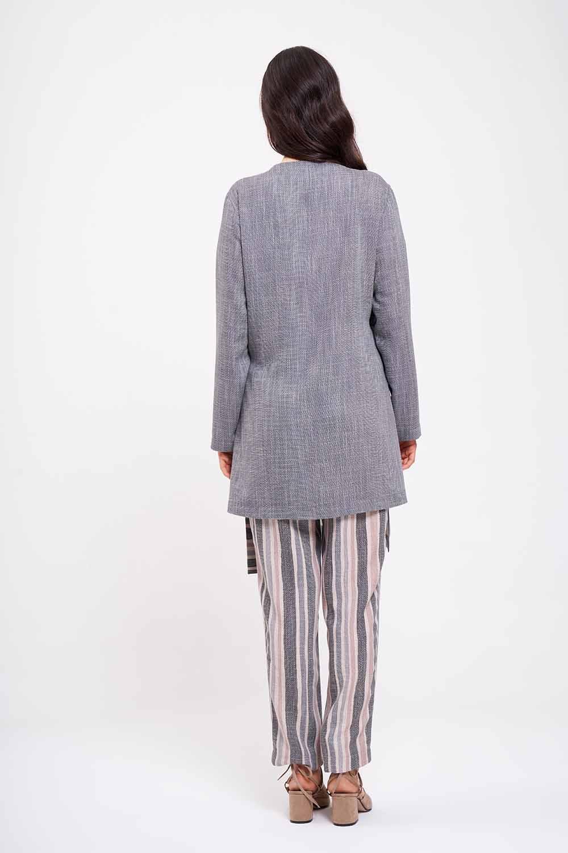 Çizgi Bağlamalı Kimono (Gri)