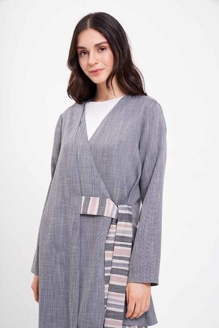 Çizgi Bağlamalı Kimono (Gri) - Thumbnail