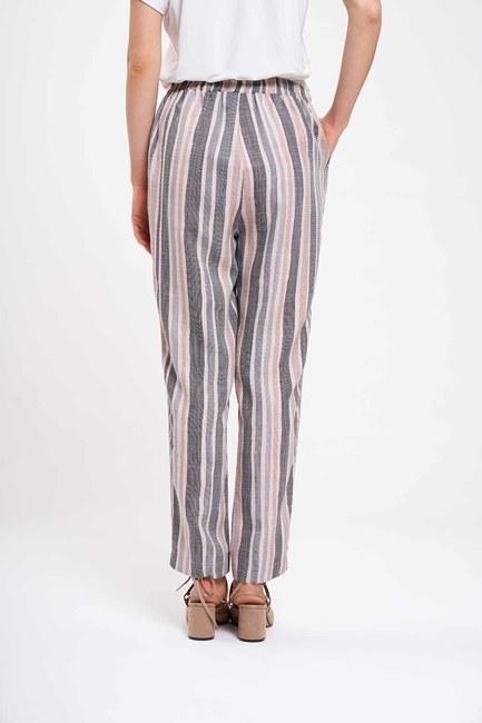Çizgi Baskılı Pantolon (Gri) - Thumbnail