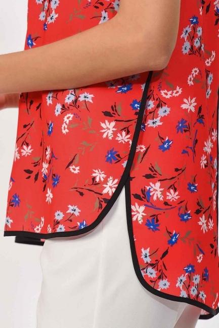Çizgi Biyeli Bluz (Kırmızı) - Thumbnail