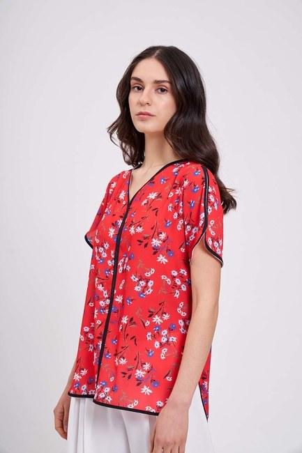 Mizalle - Çizgi Biyeli Bluz (Kırmızı)