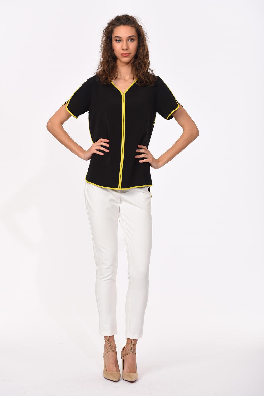 MIZALLE Çizgi Biyeli Bluz (Siyah) (1)