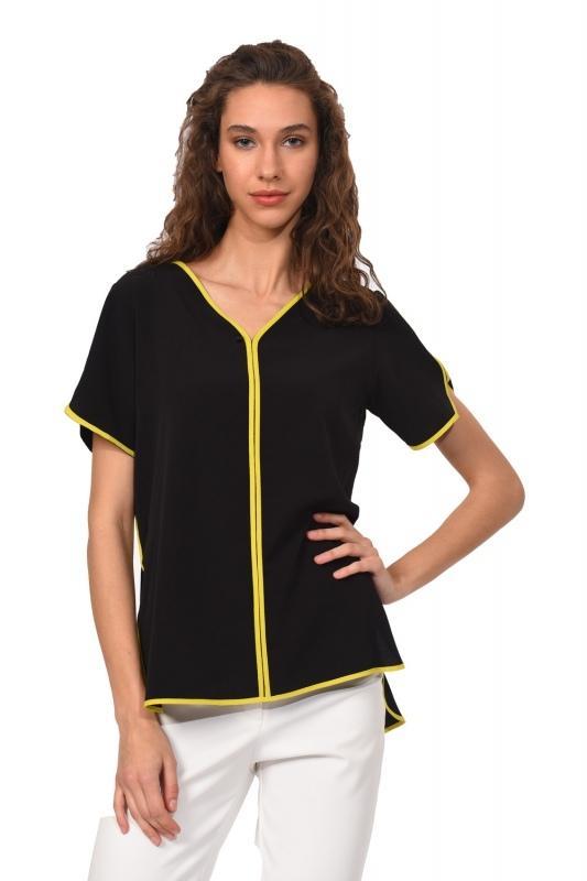 Çizgi Biyeli Bluz (Siyah)