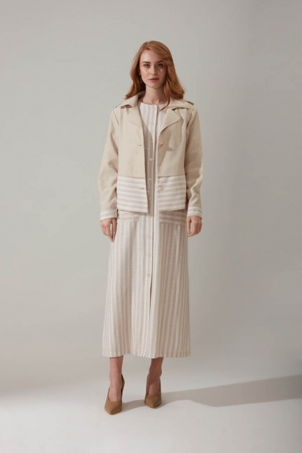 Mizalle - Çizgi Desenli Keten Elbise (Bej)
