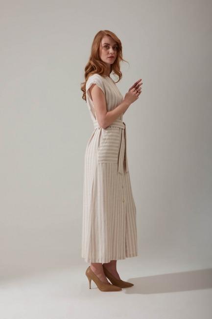 Çizgili Keten Bej Elbise - Thumbnail