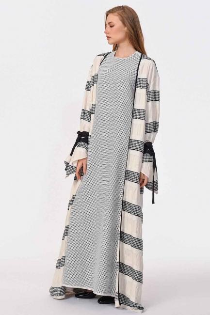 Line Detailed Design Kimono (Black/White) - Thumbnail