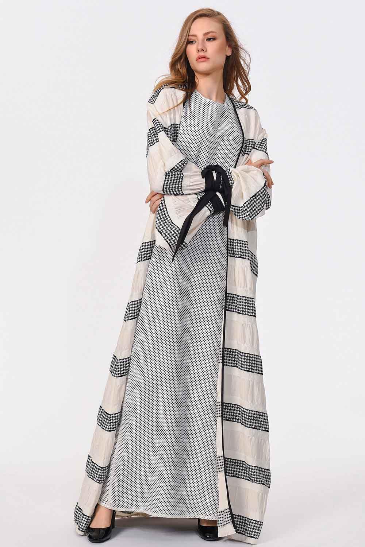 MIZALLE Çizgi Detaylı Tasarım Kimono (1)