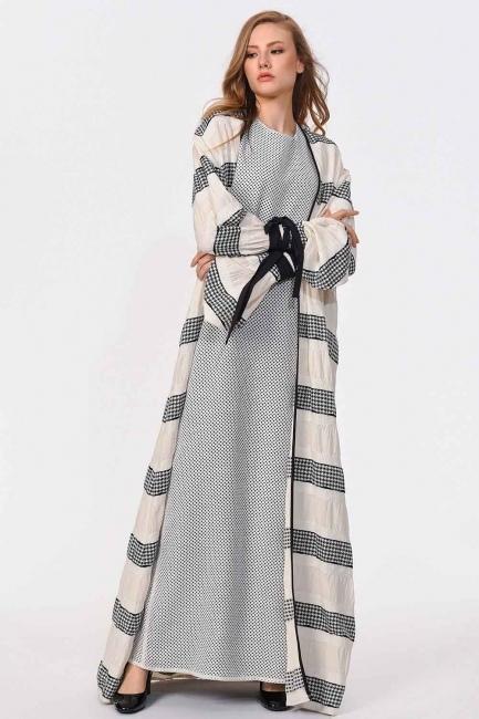 MIZALLE - Çizgi Detaylı Tasarım Kimono (Siyah/Beyaz) (1)