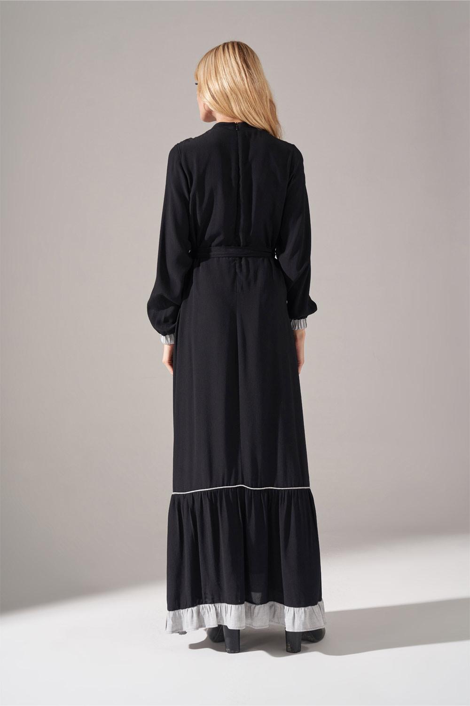 Çizgi Fırfır Detaylı Siyah Maroken Elbise - Thumbnail