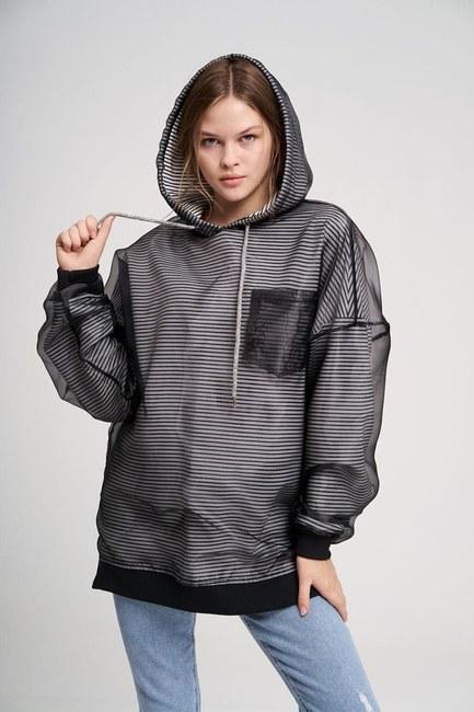 MIZALLE YOUTH - Çizgi Organze Sweatshirt (Siyah) (1)