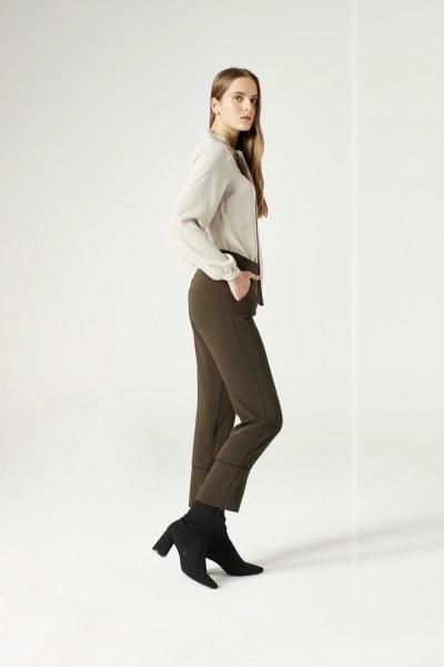 Mizalle - Çizgi Paçalı Pantolon (Haki)