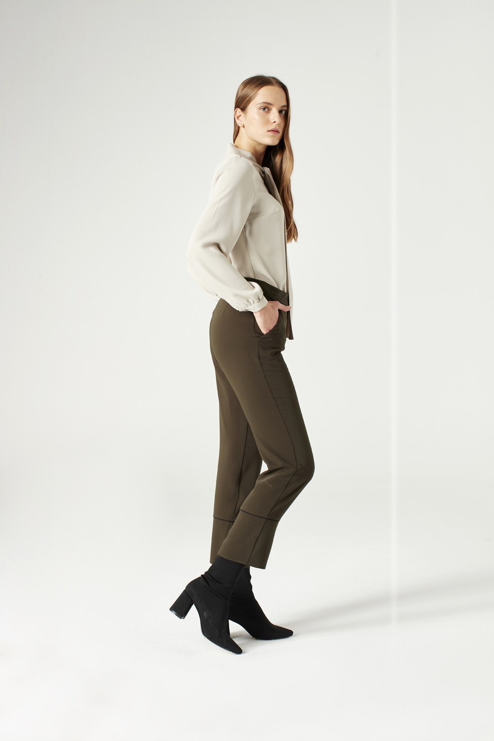 MIZALLE Striped Leg Trousers (Khaki) (1)