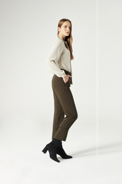 MIZALLE - Striped Leg Trousers (Khaki) (1)