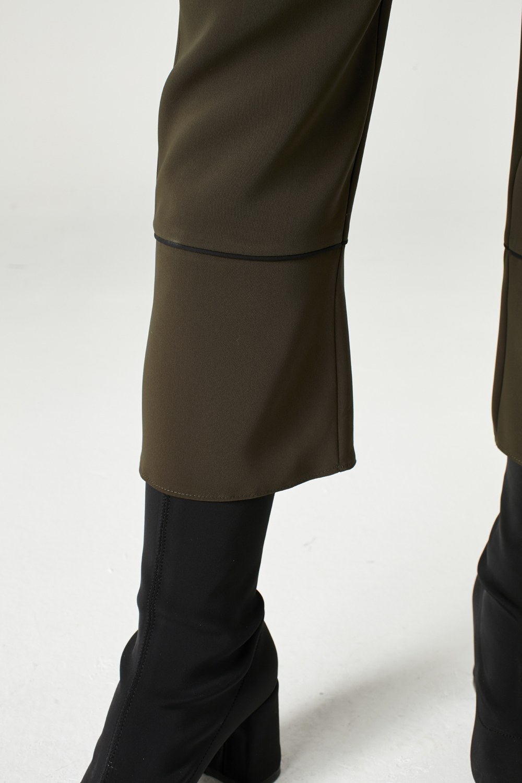 MIZALLE Striped Leg Trousers (Khaki) (1)