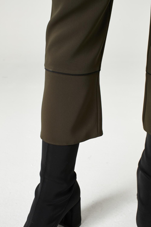 MIZALLE Çizgi Paçalı Pantolon (Haki) (1)