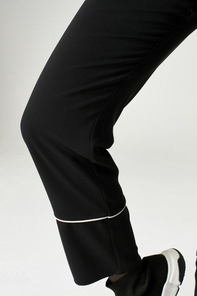 MIZALLE - Çizgi Paçalı Pantolon (Siyah) (1)
