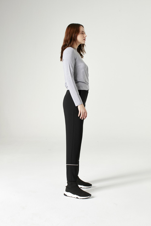 MIZALLE Çizgi Paçalı Pantolon (Siyah) (1)