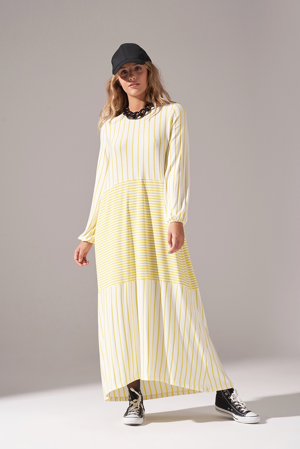 Çizgi Parçalı Örme Sarı Elbise