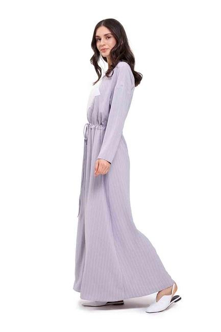 Mizalle - Çizgi Parçalı Uzun Elbise (Lila) (1)