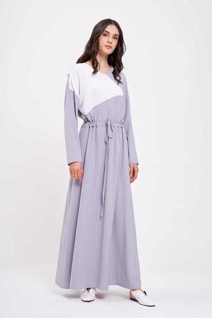 Çizgi Parçalı Uzun Elbise (Lila) - Thumbnail