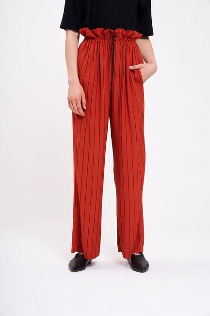 Çizgili Beli Büzgü Pantolon (Kiremit) - Thumbnail