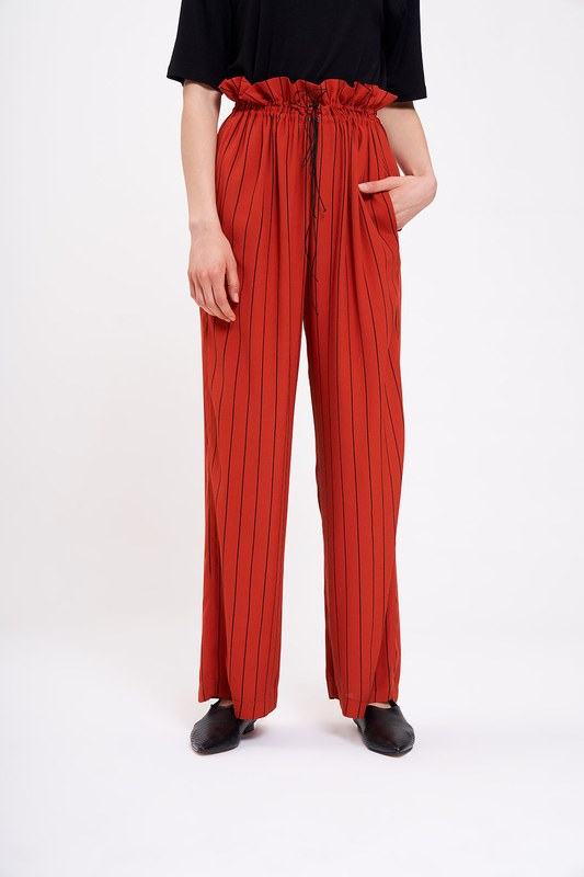 Çizgili Beli Büzgü Pantolon (Kiremit)