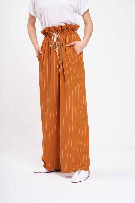 Çizgili Beli Büzgü Pantolon (Safran) - Thumbnail