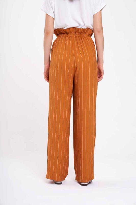 Çizgili Beli Büzgü Pantolon (Safran)
